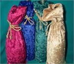Crushed Velvet Wine Bottle Bags